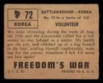 1950 Topps Freedoms War #72   Volunteer   Back Thumbnail