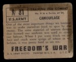 1950 Topps Freedoms War #81   Camouflage   Back Thumbnail