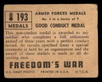 1950 Topps Freedoms War #193   Good Conduct Medal  Back Thumbnail