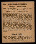 1940 Play Ball #201  Barney McCosky  Back Thumbnail