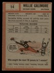 1962 Topps #14  Willie Galimore  Back Thumbnail