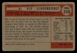 1954 Bowman #110  Red Schoendienst  Back Thumbnail