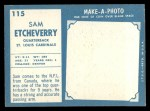 1961 Topps #115  Sam Etcheverry  Back Thumbnail