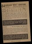 1953 Parkhurst #84  Gerry Couture  Back Thumbnail