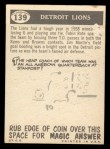 1959 Topps #139   Lions Team Checklist Back Thumbnail