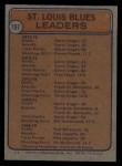 1974 Topps #197   -  Garry Unger / Pierre Plante Blues Leaders Back Thumbnail