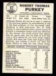 1960 Leaf #67  Bob Purkey  Back Thumbnail