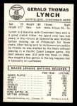 1960 Leaf #45  Jerry Lynch  Back Thumbnail