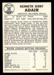 1960 Leaf #28  Jerry Adair  Back Thumbnail