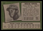 1971 Topps #457  Willie Smith  Back Thumbnail