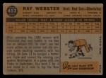 1960 Topps #452  Ray Webster  Back Thumbnail