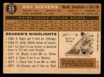 1960 Topps #25  Roy Sievers  Back Thumbnail