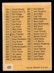 1963 Topps #431 WHT  Checklist 6 Back Thumbnail