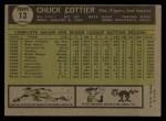 1961 Topps #13  Chuck Cottier  Back Thumbnail