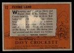 1956 Topps Davy Crockett #12 ORG  Flying Lead  Back Thumbnail