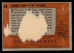 1956 Topps Davy Crockett #56 ORG  Ready for Night Attack  Back Thumbnail