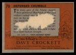 1956 Topps Davy Crockett #70 ORG  Defenses Crumble  Back Thumbnail