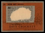 1956 Topps Davy Crockett #39 ORG  Now Get Going  Back Thumbnail