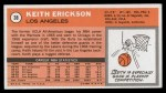 1970 Topps #38  Keith Erickson   Back Thumbnail