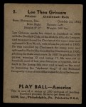 1939 Play Ball #2  Lee Grissom  Back Thumbnail