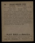 1939 Play Ball #38  Bill Myers  Back Thumbnail