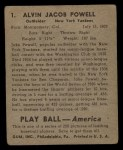 1939 Play Ball #1  Jake Powell  Back Thumbnail