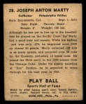 1941 Play Ball #28  Joe Marty  Back Thumbnail