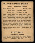 1941 Play Ball #40  John Babich  Back Thumbnail