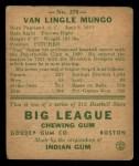 1938 Goudey Heads Up #278  Van Lingle Mungo  Back Thumbnail