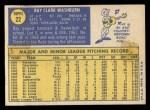 1970 Topps #22  Ray Washburn  Back Thumbnail
