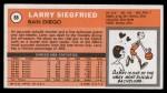 1970 Topps #88  Larry Siegfried   Back Thumbnail
