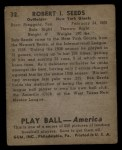 1939 Play Ball #32  Bob Seeds  Back Thumbnail