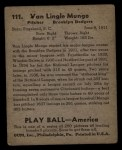 1939 Play Ball #111  Van Mungo  Back Thumbnail