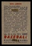 1951 Bowman #53  Bob Lemon  Back Thumbnail