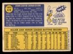 1970 Topps #418  John Donaldson  Back Thumbnail