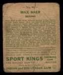 1933 Goudey Sport Kings #44  Max Baer   Back Thumbnail