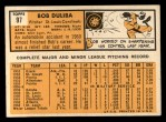 1963 Topps #97  Bob Duliba  Back Thumbnail