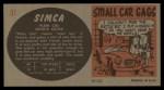 1961 Topps Sports Cars #31   Simca Plein Ciel Back Thumbnail