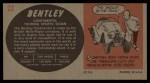 1961 Topps Sports Cars #22   Bentley Continental Back Thumbnail