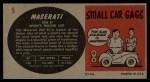 1961 Topps Sports Cars #5   Maserati 200 SI Back Thumbnail