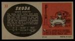 1961 Topps Sports Cars #33   Skoda Back Thumbnail