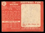 1958 Topps #67  Tom Wilson  Back Thumbnail