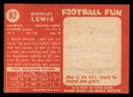 1958 Topps #82  Woodly Lewis  Back Thumbnail