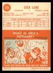 1963 Topps #32  Dick Lane  Back Thumbnail