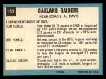 1964 Topps #153   Oakland Raiders Back Thumbnail