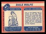 1968 Topps #41  Dale Rolfe  Back Thumbnail