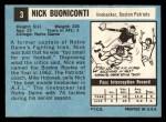 1964 Topps #3  Nick Buoniconti  Back Thumbnail