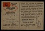 1954 Bowman #84  John Bauer  Back Thumbnail
