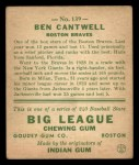 1933 Goudey #139  Ben Cantwell  Back Thumbnail