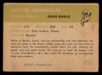 1961 Fleer #152  Austin Goose Gonsoulin  Back Thumbnail